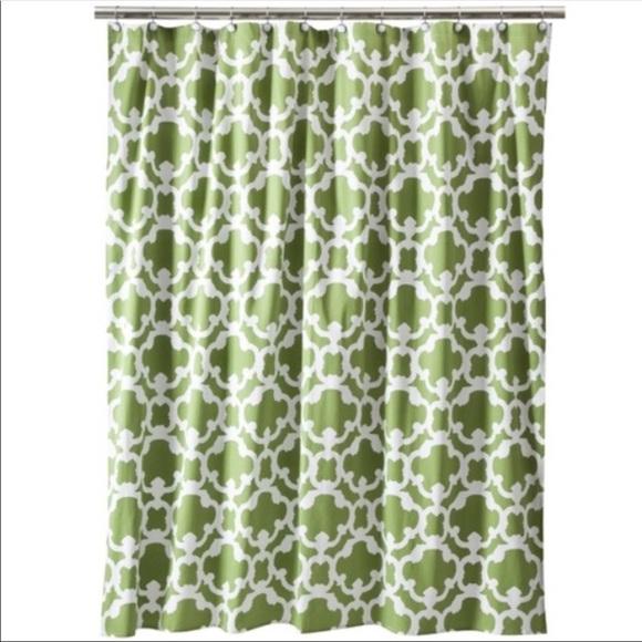 Threshold Green White Shower Curtain